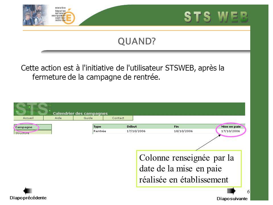 Diapo précédente Diapo suivante 6 QUAND? Cette action est à l'initiative de l'utilisateur STSWEB, après la fermeture de la campagne de rentrée. Colonn