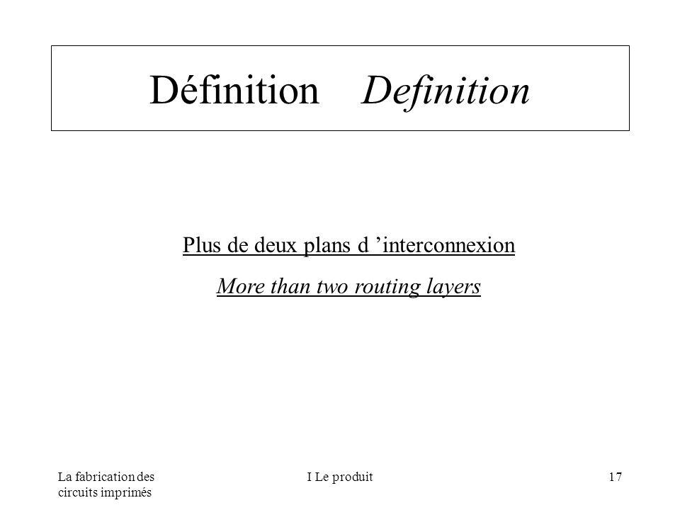 La fabrication des circuits imprimés I Le produit17 Définition Definition Plus de deux plans d interconnexion More than two routing layers