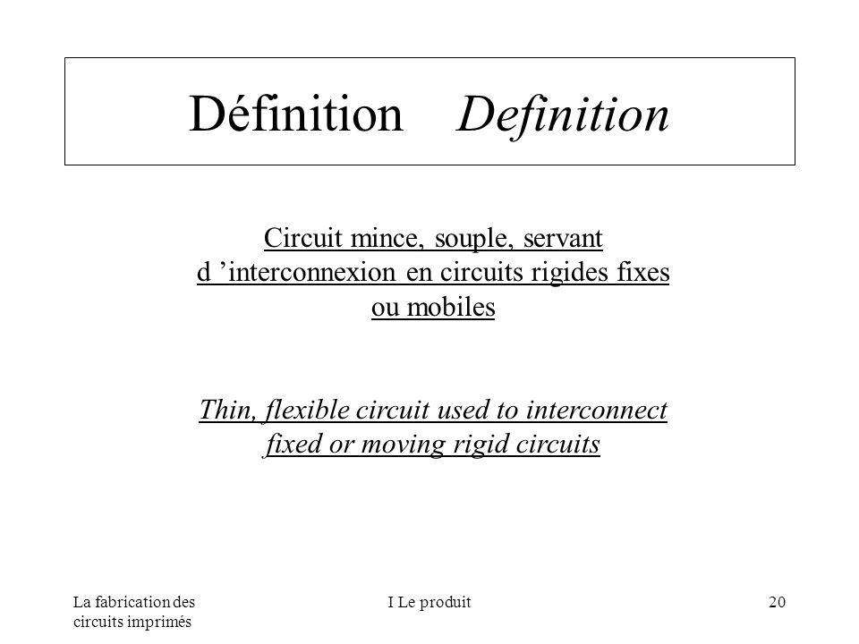 La fabrication des circuits imprimés I Le produit20 Définition Definition Circuit mince, souple, servant d interconnexion en circuits rigides fixes ou