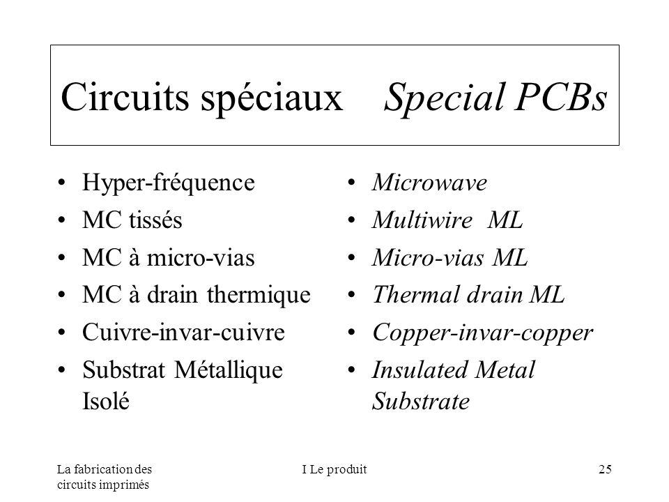 La fabrication des circuits imprimés I Le produit25 Circuits spéciaux Special PCBs Hyper-fréquence MC tissés MC à micro-vias MC à drain thermique Cuiv