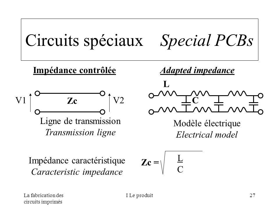 La fabrication des circuits imprimés I Le produit27 Circuits spéciaux Special PCBs Impédance contrôlée Adapted impedance V1V2 Zc L C Ligne de transmis