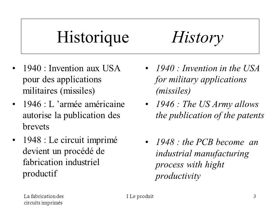La fabrication des circuits imprimés I Le produit3 Historique History 1940 : Invention aux USA pour des applications militaires (missiles) 1946 : L ar