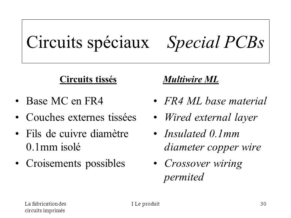 La fabrication des circuits imprimés I Le produit30 Circuits spéciaux Special PCBs Base MC en FR4 Couches externes tissées Fils de cuivre diamètre 0.1