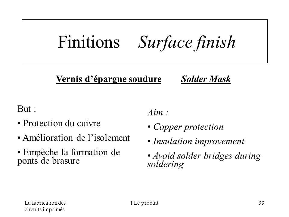La fabrication des circuits imprimés I Le produit39 Finitions Surface finish Vernis dépargne soudure Solder Mask But : Protection du cuivre Améliorati