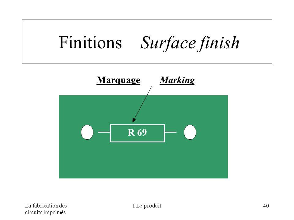 La fabrication des circuits imprimés I Le produit40 Finitions Surface finish Marquage Marking R 69