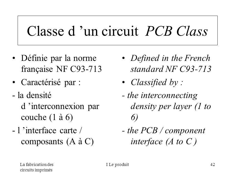 La fabrication des circuits imprimés I Le produit42 Classe d un circuit PCB Class Définie par la norme française NF C93-713 Caractérisé par : - la den