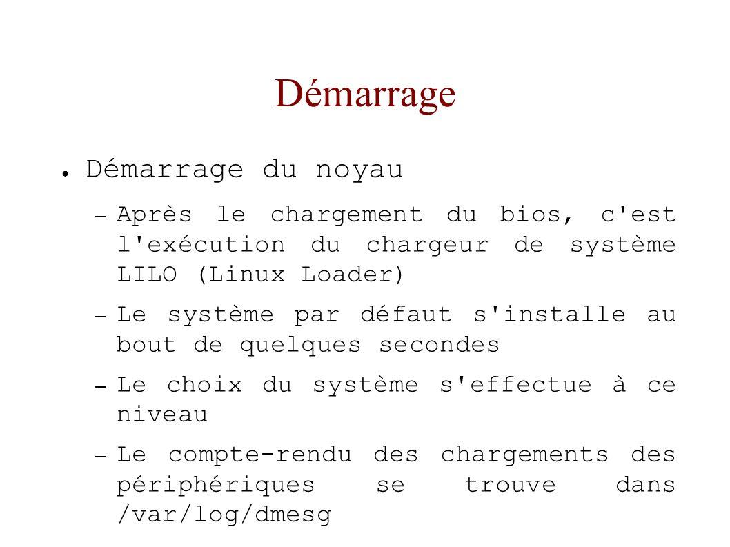 Démarrage Démarrage du noyau – Après le chargement du bios, c est l exécution du chargeur de système LILO (Linux Loader) – Le système par défaut s installe au bout de quelques secondes – Le choix du système s effectue à ce niveau – Le compte-rendu des chargements des périphériques se trouve dans /var/log/dmesg