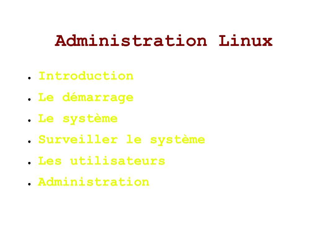 Le système (suite) Systèmes de fichiers et points de montage – Structure d un disque dur Règles de nommage – Premier IDE primaire: /dev/hda – Deuxième IDE primaire: /dev/hdb – Premier IDE secondaire: /dev/hdc – Premier SCSI : /dev/sda – Cd-rom: /dev/cdrom – Disquette: /dev/floppy – Cinquième partition du premier IDE secondaire