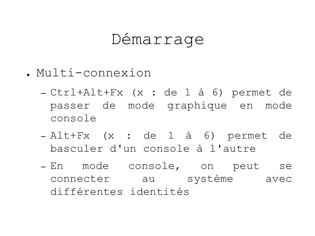 Démarrage Multi-connexion – Ctrl+Alt+Fx (x : de 1 à 6) permet de passer de mode graphique en mode console – Alt+Fx (x : de 1 à 6) permet de basculer d un console à l autre – En mode console, on peut se connecter au système avec différentes identités