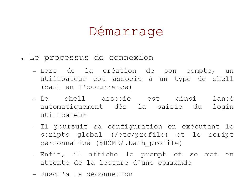 Démarrage Le processus de connexion – Lors de la création de son compte, un utilisateur est associé à un type de shell (bash en l occurrence) – Le shell associé est ainsi lancé automatiquement dès la saisie du login utilisateur – Il poursuit sa configuration en exécutant le scripts global (/etc/profile) et le script personnalisé ($HOME/.bash_profile) – Enfin, il affiche le prompt et se met en attente de la lecture d une commande – Jusqu à la déconnexion