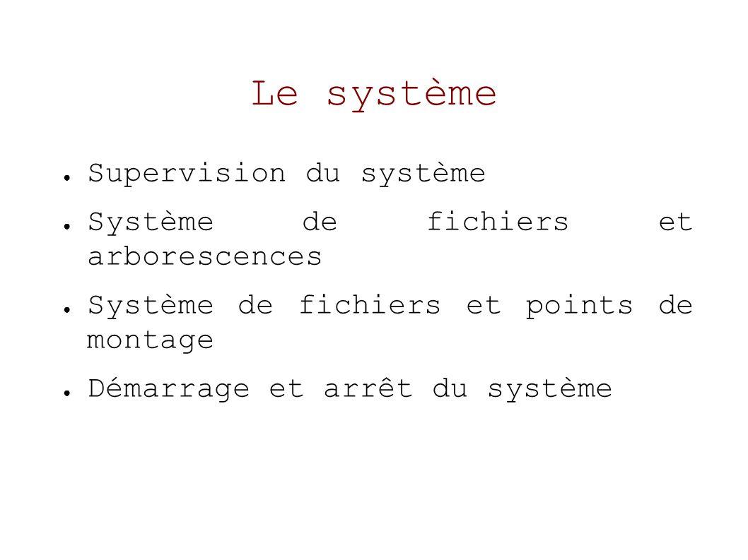 Le système Supervision du système Système de fichiers et arborescences Système de fichiers et points de montage Démarrage et arrêt du système