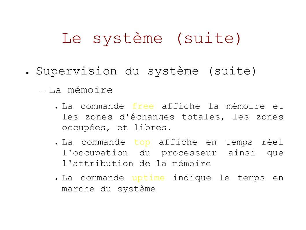Le système (suite) Supervision du système (suite) – La mémoire La commande free affiche la mémoire et les zones d échanges totales, les zones occupées, et libres.