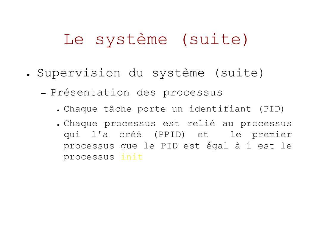 Le système (suite) Supervision du système (suite) – Présentation des processus Chaque tâche porte un identifiant (PID) Chaque processus est relié au processus qui l a créé (PPID) et le premier processus que le PID est égal à 1 est le processus init