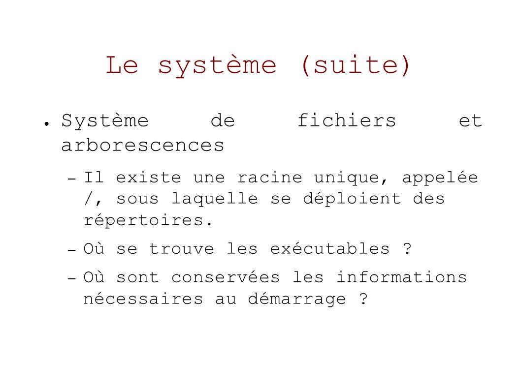 Le système (suite) Système de fichiers et arborescences – Il existe une racine unique, appelée /, sous laquelle se déploient des répertoires.