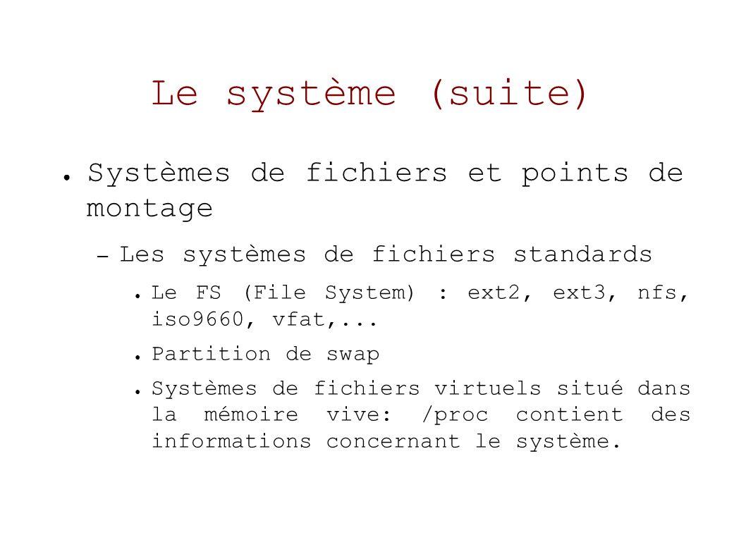 Le système (suite) Systèmes de fichiers et points de montage – Les systèmes de fichiers standards Le FS (File System) : ext2, ext3, nfs, iso9660, vfat,...