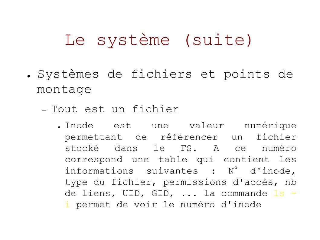 Le système (suite) Systèmes de fichiers et points de montage – Tout est un fichier Inode est une valeur numérique permettant de référencer un fichier stocké dans le FS.