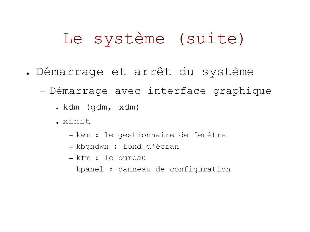 Le système (suite) Démarrage et arrêt du système – Démarrage avec interface graphique kdm (gdm, xdm) xinit – kwm : le gestionnaire de fenêtre – kbgndwn : fond d écran – kfm : le bureau – kpanel : panneau de configuration