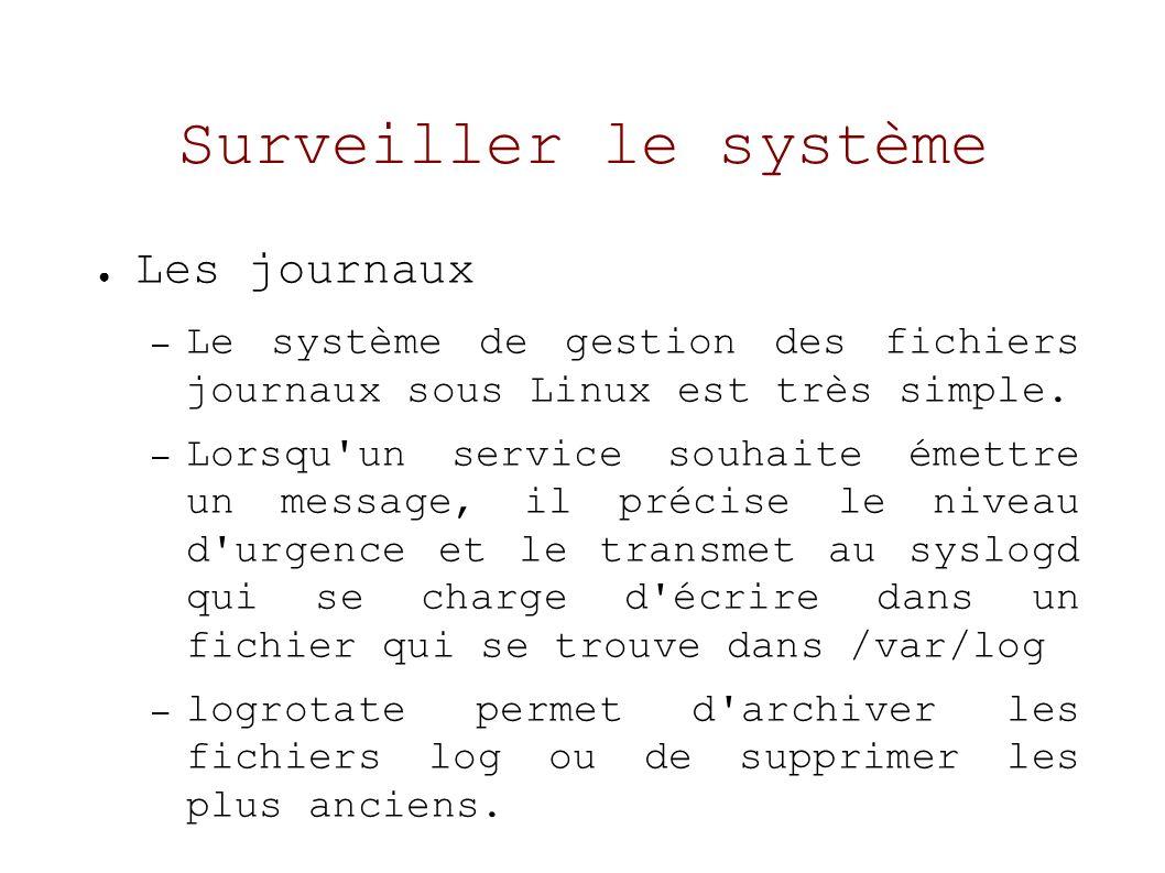 Surveiller le système Les journaux – Le système de gestion des fichiers journaux sous Linux est très simple.