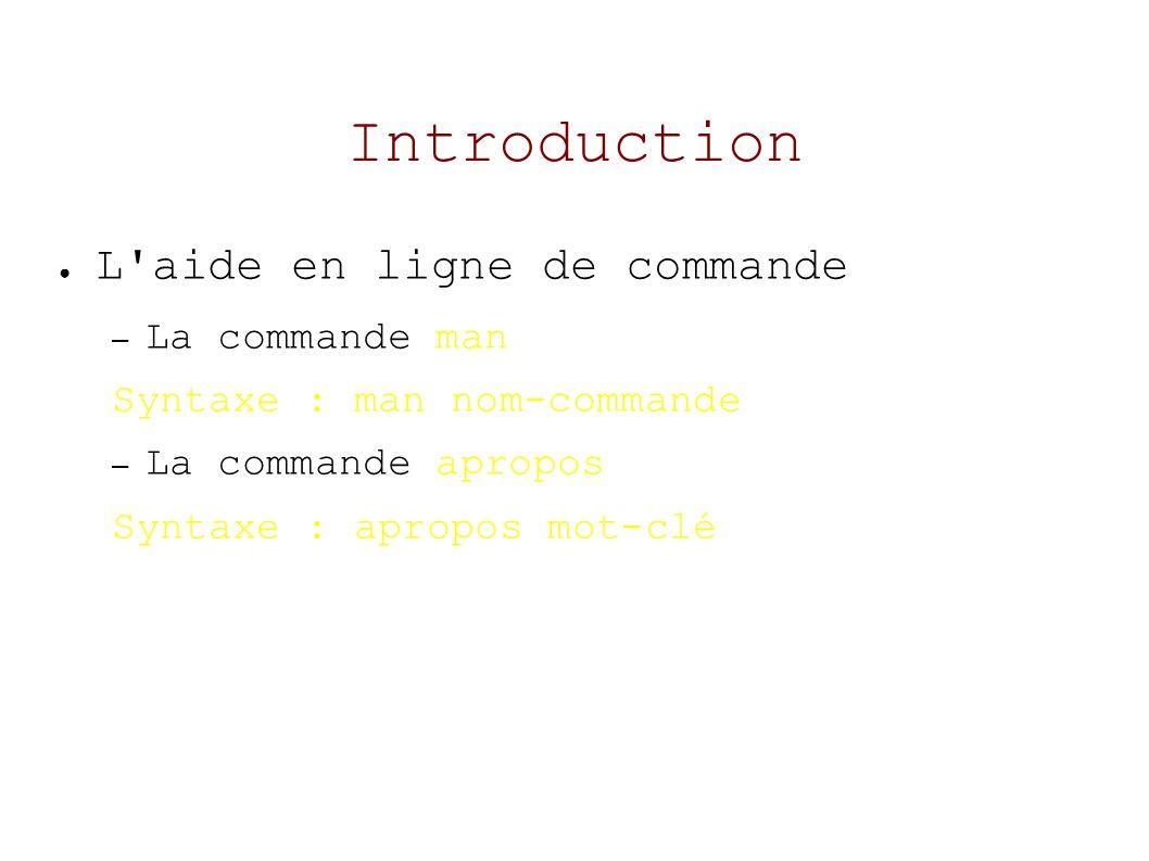 Introduction La documentation des applications /usr/share/doc/ Les HOWTOs /usr/share/doc/HOWTO Les ressources sur le Net http://www.lea-linux.org http://www.aful.org
