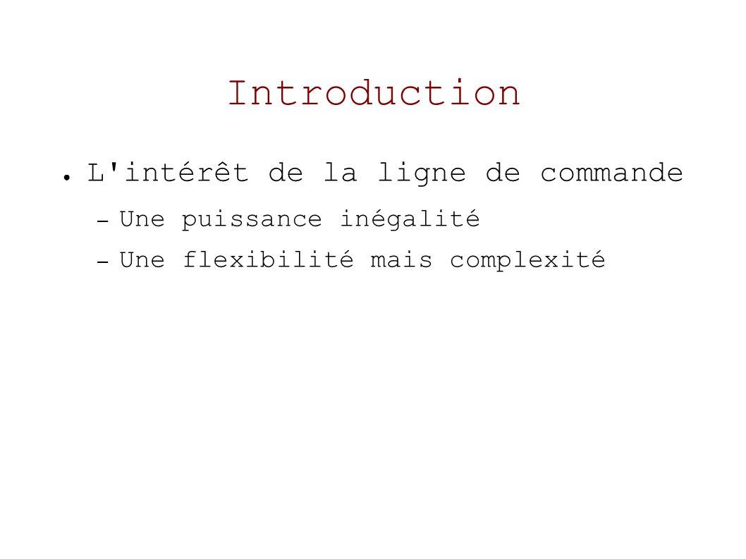 Introduction L intérêt de la ligne de commande – Une puissance inégalité – Une flexibilité mais complexité