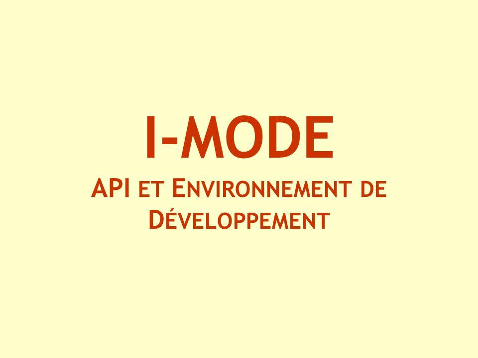 I-MODE API ET E NVIRONNEMENT DE D ÉVELOPPEMENT
