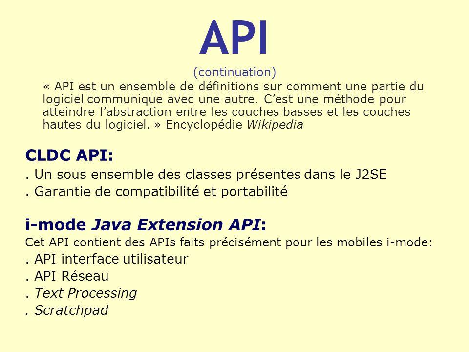 API (continuation) « API est un ensemble de définitions sur comment une partie du logiciel communique avec une autre. Cest une méthode pour atteindre