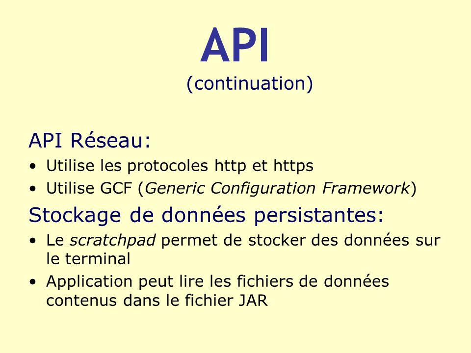 API (continuation) API Réseau: Utilise les protocoles http et https Utilise GCF (Generic Configuration Framework) Stockage de données persistantes: Le
