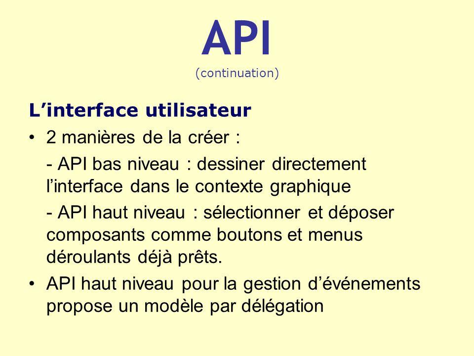 API (continuation) Linterface utilisateur 2 manières de la créer : - API bas niveau : dessiner directement linterface dans le contexte graphique - API