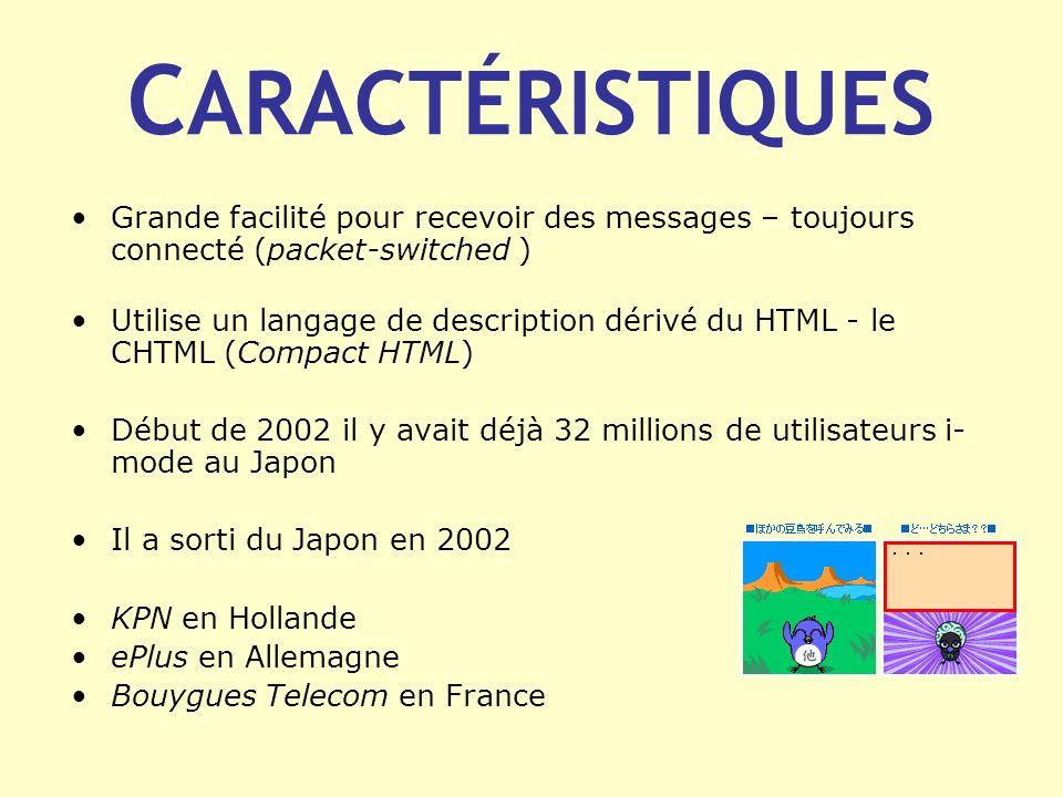 C ARACTÉRISTIQUES Grande facilité pour recevoir des messages – toujours connecté (packet-switched ) Utilise un langage de description dérivé du HTML -