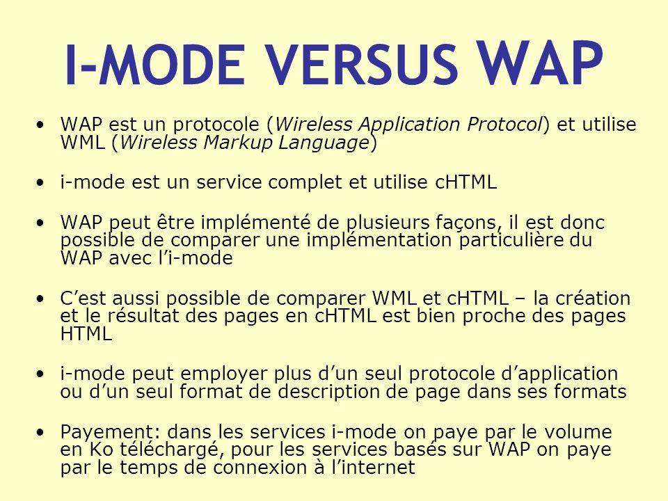 I-MODE VERSUS WAP WAP est un protocole (Wireless Application Protocol) et utilise WML (Wireless Markup Language) i-mode est un service complet et util