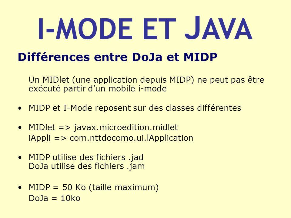 Différences entre DoJa et MIDP Un MIDlet (une application depuis MIDP) ne peut pas être exécuté partir dun mobile i-mode MIDP et I-Mode reposent sur d