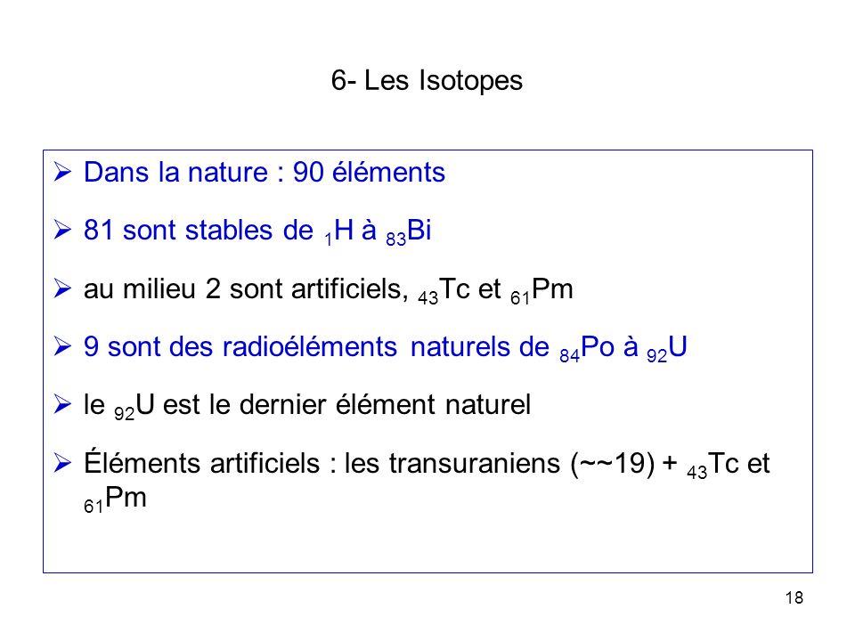 18 6- Les Isotopes Dans la nature : 90 éléments 81 sont stables de 1 H à 83 Bi au milieu 2 sont artificiels, 43 Tc et 61 Pm 9 sont des radioéléments n