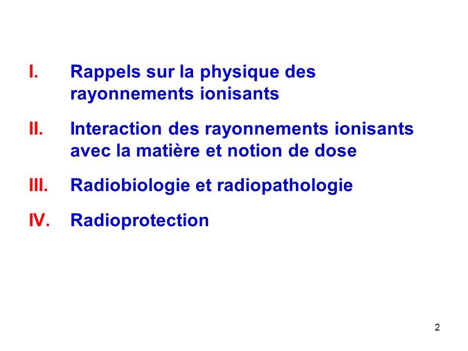 2 I.Rappels sur la physique des rayonnements ionisants II.Interaction des rayonnements ionisants avec la matière et notion de dose III.Radiobiologie e