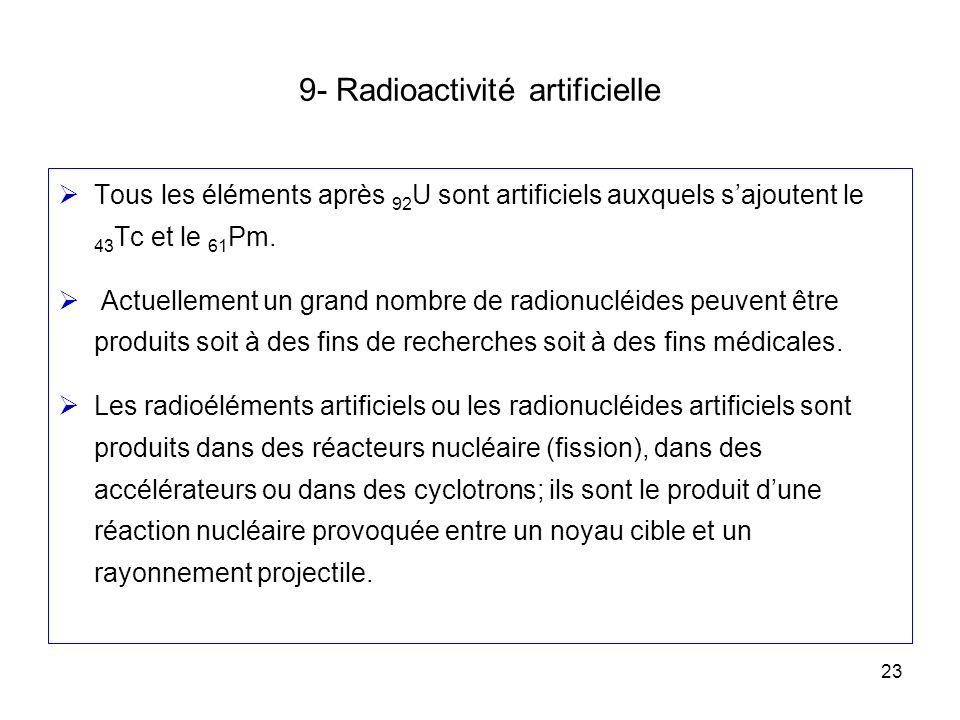 23 9- Radioactivité artificielle Tous les éléments après 92 U sont artificiels auxquels sajoutent le 43 Tc et le 61 Pm. Actuellement un grand nombre d