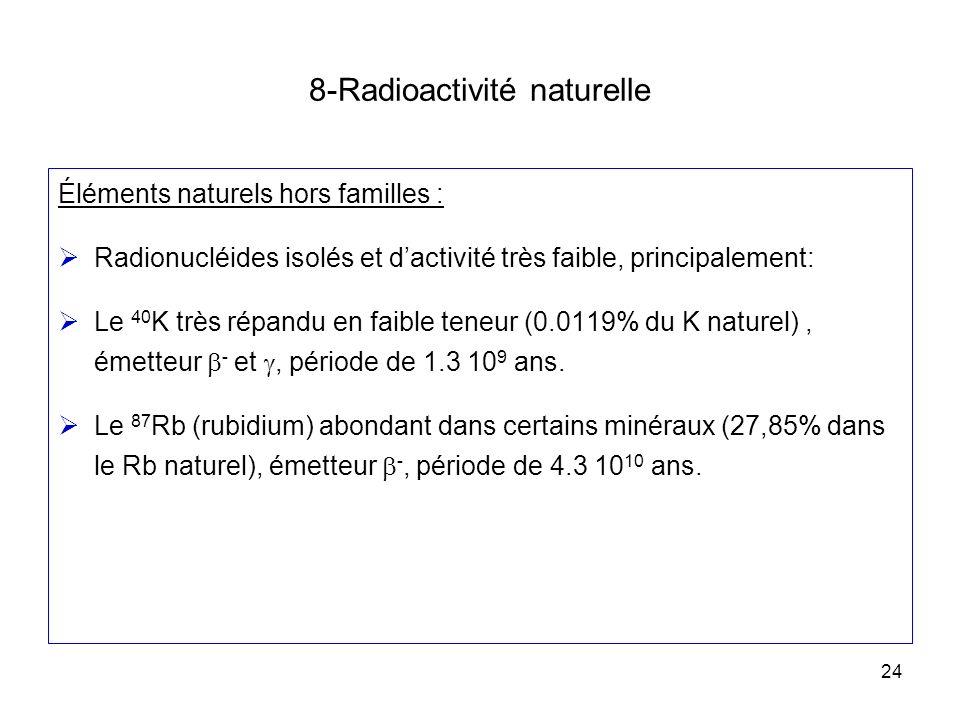 24 8-Radioactivité naturelle Éléments naturels hors familles : Radionucléides isolés et dactivité très faible, principalement: Le 40 K très répandu en