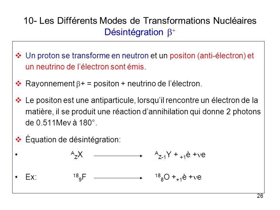 26 10- Les Différents Modes de Transformations Nucléaires Désintégration Un proton se transforme en neutron et un positon (anti-électron) et un neutri