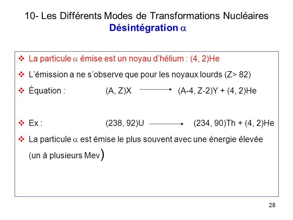 28 10- Les Différents Modes de Transformations Nucléaires Désintégration La particule émise est un noyau dhélium : (4, 2)He Lémission a ne sobserve qu