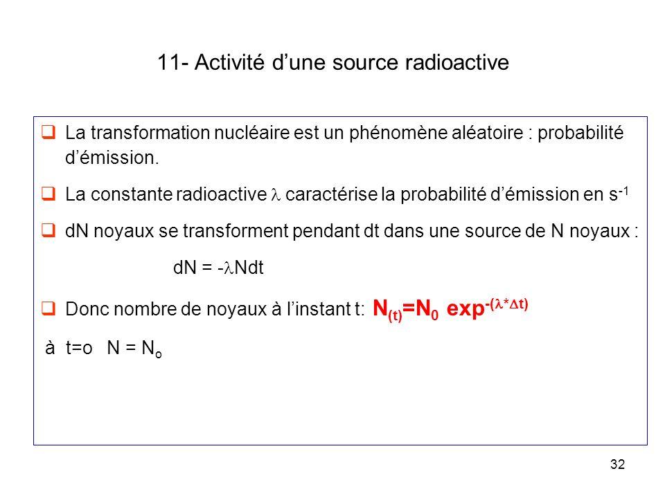 32 11- Activité dune source radioactive La transformation nucléaire est un phénomène aléatoire : probabilité démission. La constante radioactive carac
