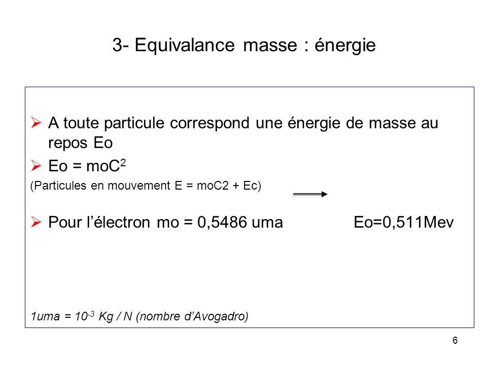 6 3- Equivalance masse : énergie A toute particule correspond une énergie de masse au repos Eo Eo = moC 2 (Particules en mouvement E = moC2 + Ec) Pour
