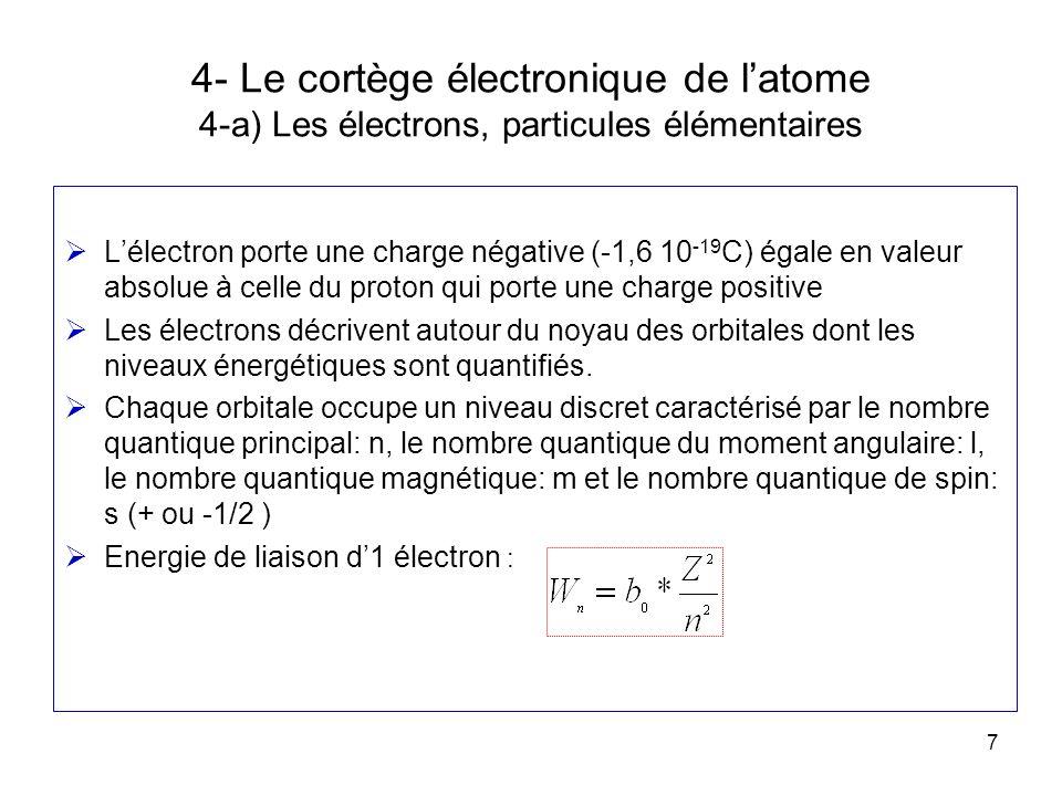 7 4- Le cortège électronique de latome 4-a) Les électrons, particules élémentaires Lélectron porte une charge négative (-1,6 10 -19 C) égale en valeur