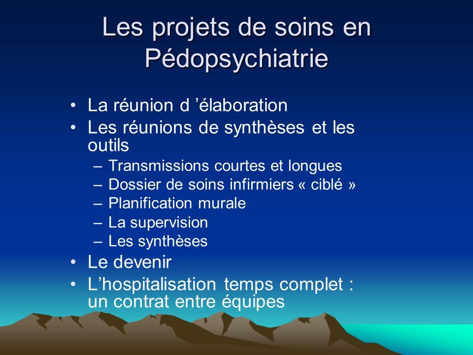 Les projets de soins en Pédopsychiatrie La réunion d élaboration Les réunions de synthèses et les outils –Transmissions courtes et longues –Dossier de