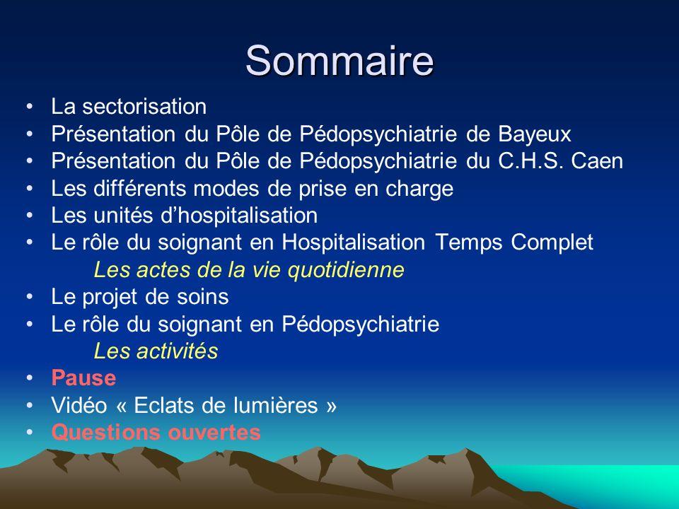 Sommaire La sectorisation Présentation du Pôle de Pédopsychiatrie de Bayeux Présentation du Pôle de Pédopsychiatrie du C.H.S. Caen Les différents mode