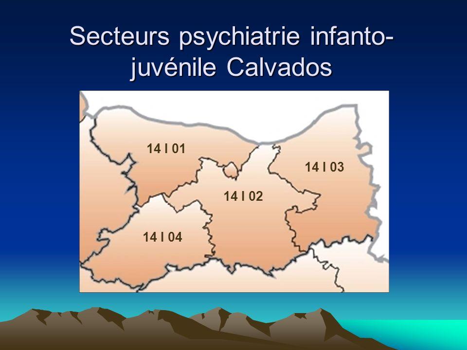 Secteurs psychiatrie infanto- juvénile Calvados 14 I 01 14 I 02 14 I 03 14 I 04