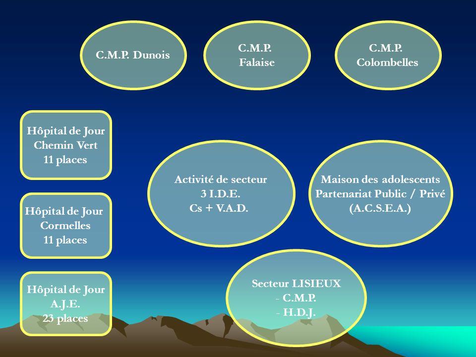 C.M.P. Dunois C.M.P. Falaise Activité de secteur 3 I.D.E. Cs + V.A.D. Maison des adolescents Partenariat Public / Privé (A.C.S.E.A.) Secteur LISIEUX -