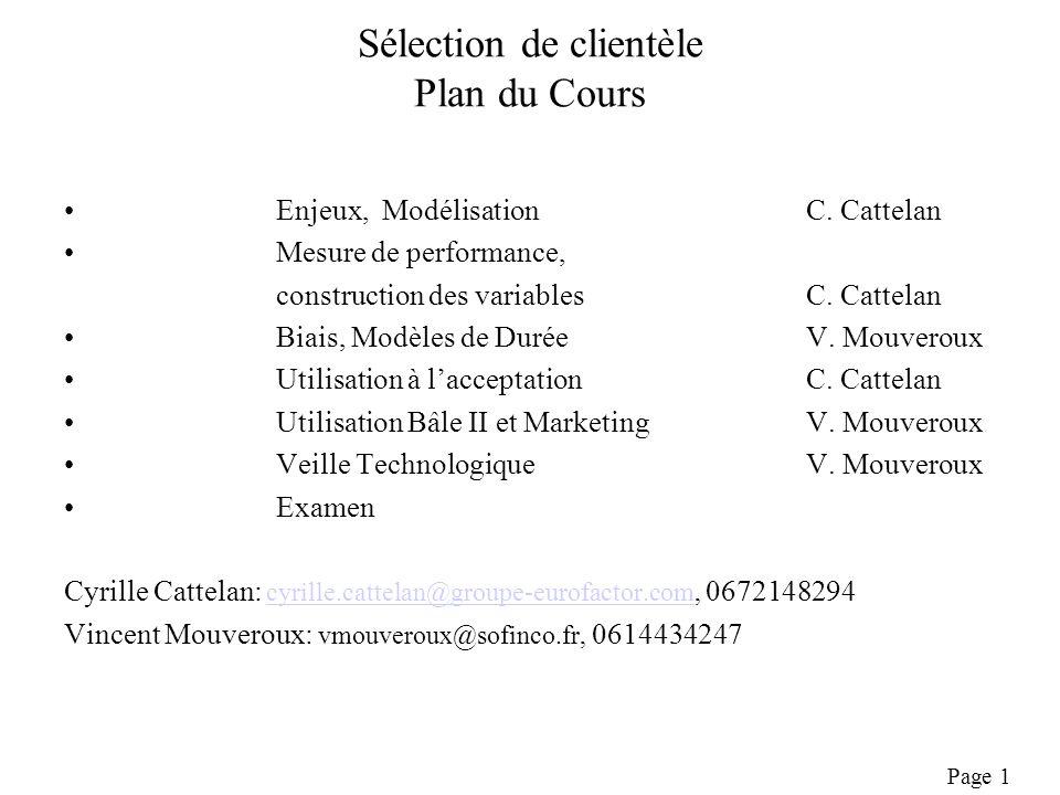 Page 1 Sélection de clientèle Plan du Cours Enjeux, ModélisationC.