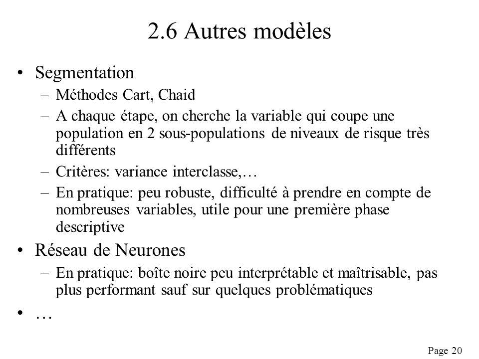 Page 20 2.6 Autres modèles Segmentation –Méthodes Cart, Chaid –A chaque étape, on cherche la variable qui coupe une population en 2 sous-populations de niveaux de risque très différents –Critères: variance interclasse,… –En pratique: peu robuste, difficulté à prendre en compte de nombreuses variables, utile pour une première phase descriptive Réseau de Neurones –En pratique: boîte noire peu interprétable et maîtrisable, pas plus performant sauf sur quelques problématiques …