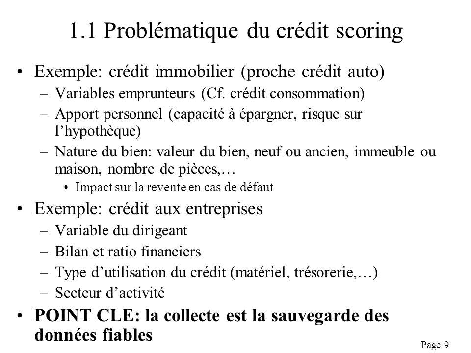 Page 9 1.1 Problématique du crédit scoring Exemple: crédit immobilier (proche crédit auto) –Variables emprunteurs (Cf.