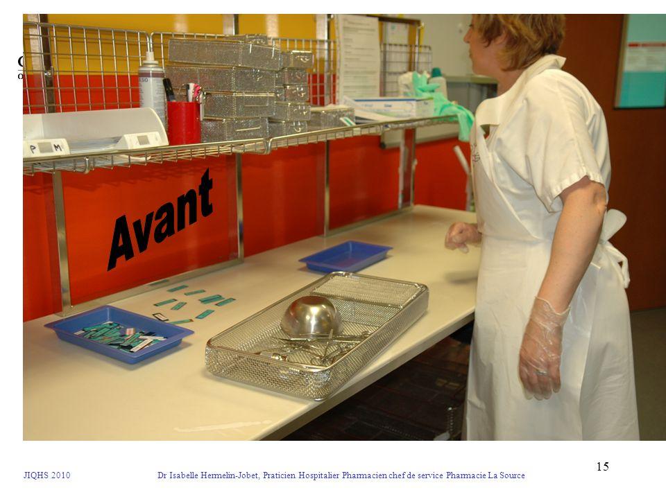 JIQHS 2010 Dr Isabelle Hermelin-Jobet, Praticien Hospitalier Pharmacien chef de service Pharmacie La Source 15