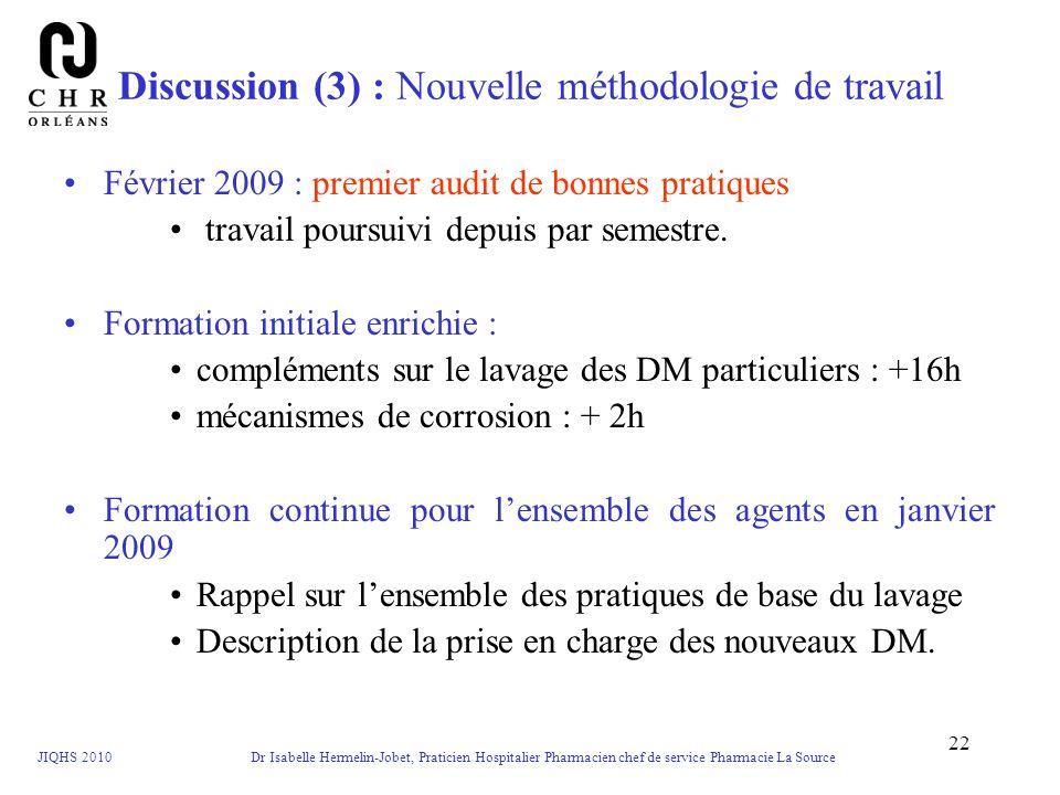 JIQHS 2010 Dr Isabelle Hermelin-Jobet, Praticien Hospitalier Pharmacien chef de service Pharmacie La Source 22 Discussion (3) : Nouvelle méthodologie