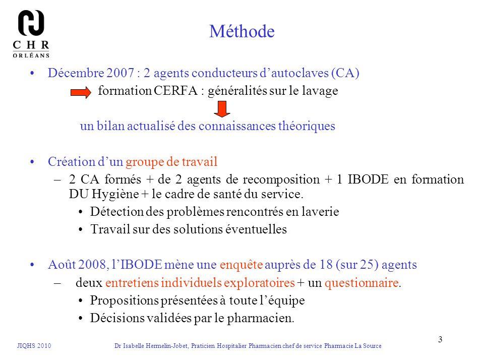 JIQHS 2010 Dr Isabelle Hermelin-Jobet, Praticien Hospitalier Pharmacien chef de service Pharmacie La Source 3 Méthode Décembre 2007 : 2 agents conduct